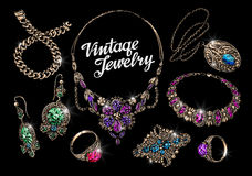 Vintage jewelry with gems. Hand-drawn gold and silver vector illustration Stock Photography