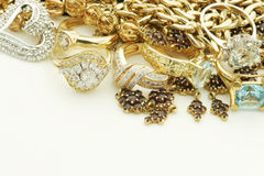 Vintage jewelry. With gold and diamonds Stock Photo