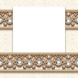 Vintage jewelry greeting card with diamond borders. Elegant greeting card with diamond jewelry border decoration, vintage wedding invitation or announcement Stock Illustration