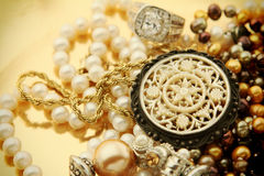 Vintage jewelry pile Stock Photo