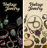 Vintage jewelry. Precious metal, gold, silver and gems. Vector illustration Royalty Free Stock Photos