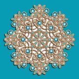 Vintage jewelry round pattern turquoise background royalty free illustration