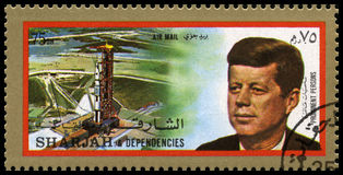 Vintage John F Kennedy Postage stamp from Sharjah Stock Image