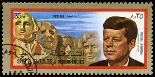 Vintage John F Kennedy Postage stamp from Sharjah Royalty Free Stock Photography