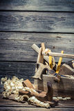 Vintage joinery box with tools Stock Photo