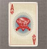 Vintage jouant l'illustration de vecteur de carte de l'as des diamants Images stock