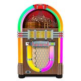 Vintage jukebox front view, 3D rendering. Isolated on white background vector illustration