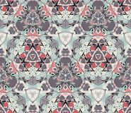 Vintage kaleidoscope seamless pattern. Composed of color abstract shapes. Stock Photography