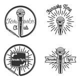 Vintage karaoke emblems Stock Images