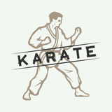Vintage karate or martial arts logo, emblem, badge, label and design elements. Royalty Free Stock Photo