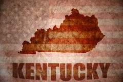 Vintage kentucky map. Kentucky map on a vintage american flag background Royalty Free Stock Image