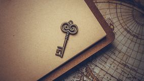 Vintage Key On Brown Book stock images