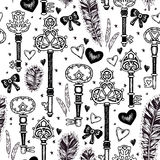 Vintage key with feathers and hearts pattern Stock Images