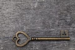 Vintage key heart shape Royalty Free Stock Image