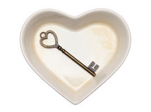 Vintage key and heart shape plate Stock Photo