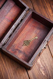 Vintage key inside old treasure chest Royalty Free Stock Image