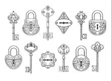 Vintage key, keyhole and lock set royalty free illustration