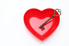 Vintage key and red heart Royalty Free Stock Photos