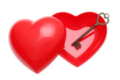 Vintage key and red heart Stock Image