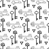 Vintage key seamless background. Hand drawn vector pattern. Royalty Free Stock Images