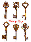 Vintage key and skeleton isolated sketch set. Vintage key isolated sketch set. Antique golden door key and skeleton, decorated by victorian flourishes and vector illustration