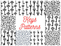 Vintage key, victorian skeleton seamless pattern. Vintage key seamless pattern set of old door key and victorian skeleton, decorated by gothic floral ornament vector illustration