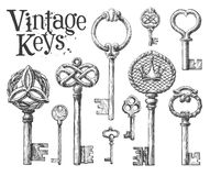 Vintage key on a white background. sketch Royalty Free Stock Photos