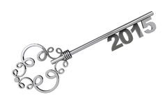 Vintage Key with 2015 year Sign. On a white background Royalty Free Stock Images