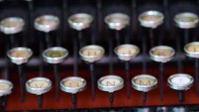 Vintage keyboard on typewriter. Czech keyboard. Cinematic look 4K. Vintage keyboard on typewriter. Czech keyboard. Cinematic look, 4K stock video footage