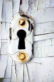 Vintage keyhole. Vintage rusty keyhole with cracky white Stock Photo