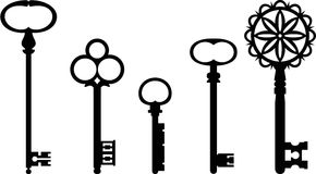 Vintage keys. Silhouettes of vintage keys. Vector illustration Royalty Free Stock Images