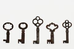 Vintage Keys. Standing on white background royalty free stock photo