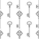 Vintage keys. Black and white seamless pattern for coloring books, pages. Vector Royalty Free Stock Photos