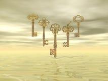 Vintage keys - 3D render. Set of five vintage golden metallic keys in clouds background Royalty Free Stock Photo