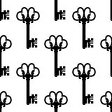 Vintage keys with floral ornament seamless pattern Royalty Free Stock Images