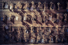 Vintage keys for hotel rooms Royalty Free Stock Images