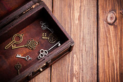 Vintage keys inside old treasure chest Royalty Free Stock Photos