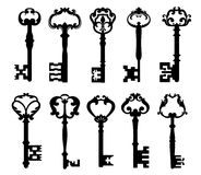 Vintage keys. Isolated on white for retro concept design Royalty Free Stock Images