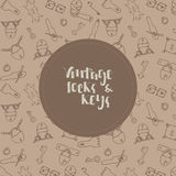 Vintage keys and locks background. Hand drawn icons Royalty Free Stock Photos
