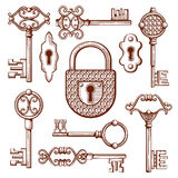 Vintage keys, locks and padlocks hand drawn vector illustration Stock Images