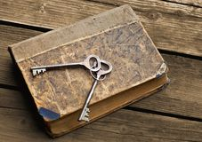 Vintage keys lying on shabby battered old book royalty free stock image