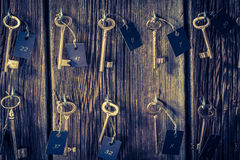 Vintage keys with number in hotel Stock Images