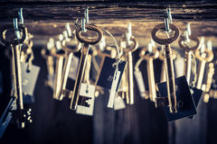Vintage keys with number in hotel Stock Photo