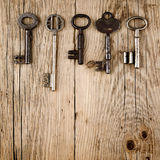 Vintage keys on wood Royalty Free Stock Photography