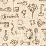 Vintage keys pattern. Stock Photography