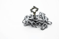 Vintage keys put in iron chain on white background Royalty Free Stock Images