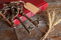 Vintage Keys and Red Book Stock Photo