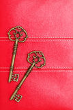 Vintage keys on red leather Royalty Free Stock Photos