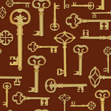 Vintage keys seamless pattern. Vector Silhouettes. Royalty Free Stock Photos