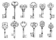 Vintage keys sketches in engraving style Stock Photography